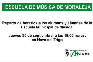 REPARTO DE HORARIOS A LOS ALUMNOS Y ALUMNAS DE LA ESCUELA MUNICIPAL DE MÚSICA DE MORALEJA