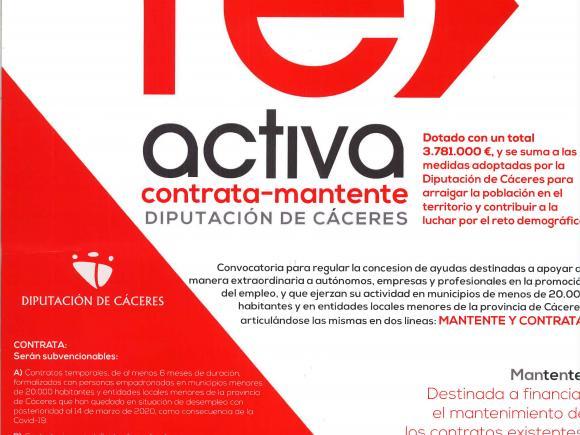 CONVOCATORIA AYUDAS AUTONOMOS PLAN RE-ACTIVA DE DIPUTACION DE CACERES