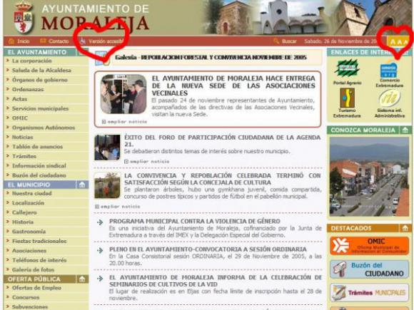 LA WEB DE MORALEJA ACCESIBLE PARA LAS PERSONAS CON DISCAPACIDAD