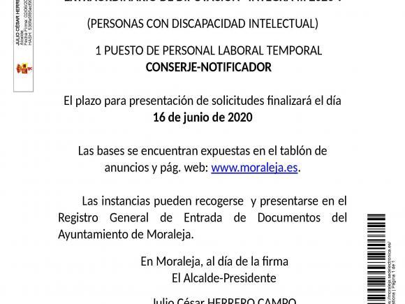 """CONVOCATORIA DE PROCESO SELECTIVO PARA LA CONTRATACIÓN DE PERSONAL AL AMPARO DEL PLAN EXTRAORDINARIO DE DIPUTACIÓN """"INTEGRA III 2020""""."""