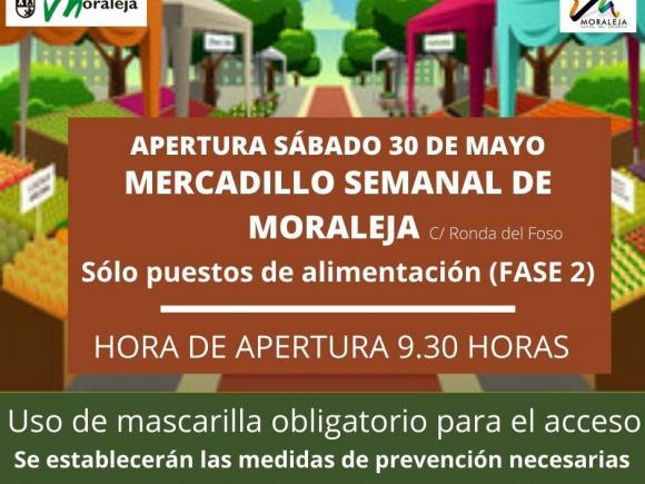 REAPERTURA MERCADILLO SEMANAL (SÓLO PUESTOS DE ALIMENTACIÓN)