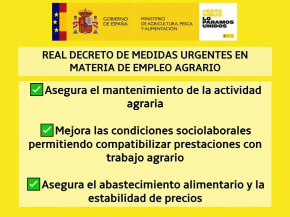MEDIDAS URGENTES EN MATERIA DE EMPLEO AGRARIO.
