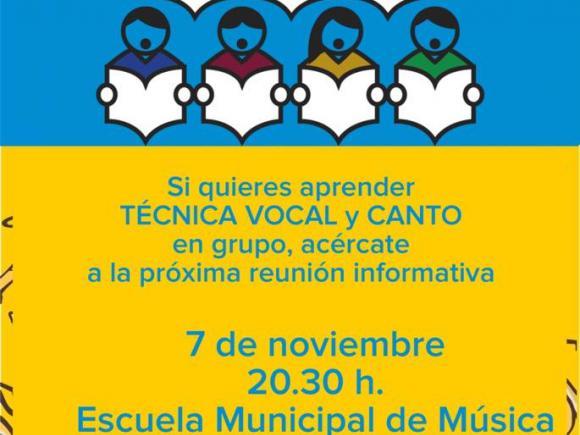 ESCUELA MUNICIPAL DE MUSICA. TÉCNICA VOCAL Y CANTO EN GRUPO.