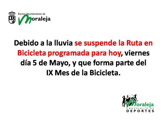 SUSPENDIDA LA RUTA DE LA BICICLETA PROGRAMADA PARA HOY DÍA 5 DE MAYO