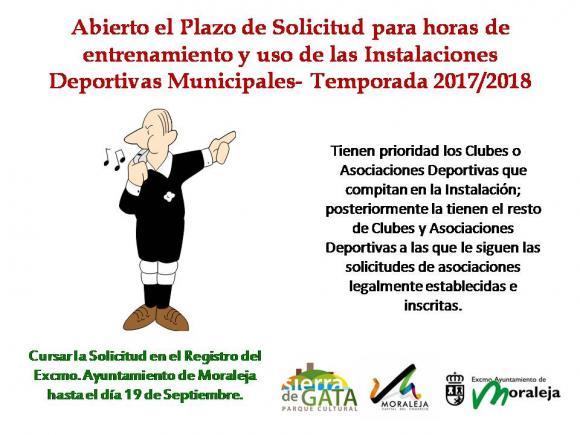 ABIERTO EL  PERIODO PARA SOLICITAR HORAS DE ENTRENAMIENTO EN LAS INSTALACIONES DEPORTIVAS MUNICIPALES,