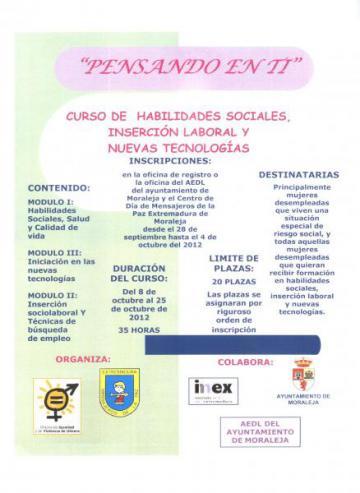 CURSO DE HABILIDADES SOCIALES, INSERCIÓN LABORAL Y NUEVAS TECNOLOGÍAS.