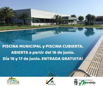 PISCINA MUNICIPAL Y PISCINA CUBIERTA, ABIERTA A PARTIR DEL 16 DE JUNIO DE 2018