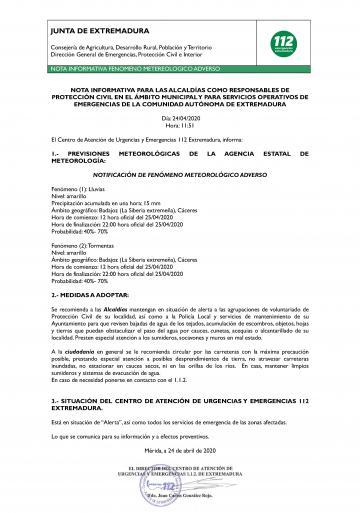 EL CENTRO DE ATENCIÓN DE URGENCIAS Y EMERGENCIAS 112 EXTREMADURA, INFORMA:FENÓMENO METEOROLÓGICO ADVERSO