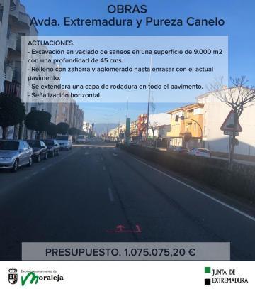 OBRAS AVDA. EXTREMADURA Y PUREZA CANELO.