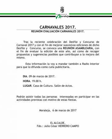 ASAMBLEA REUNIÓN EVALUACIÓN CARNAVALES 2017