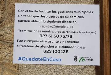 CIERRE DE LA ATENCIÓN PRESENCIAL EN EL AYUNTAMIENTO DE MORALEJA