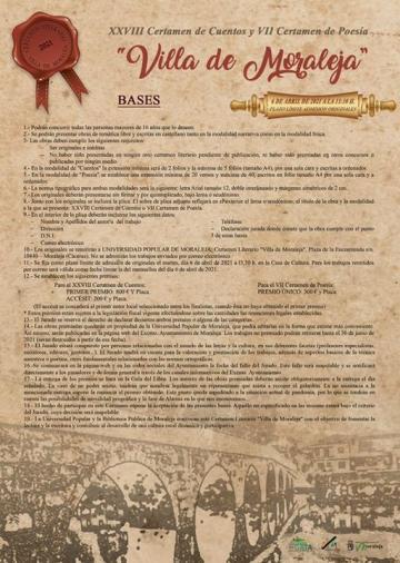 """XXVIII CERTAMEN DE CUENTOS Y VII CERTAMEN DE POESÍA """"VILLA DE MORALEJA"""""""