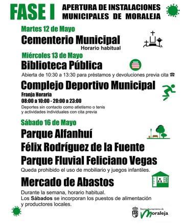 APERTURA DE INSTALACIONES MUNICIPALES DE MORALEJA DURANTE LA FASE I