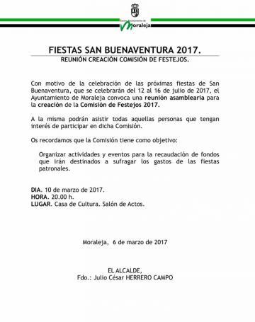 REUNIÓN CREACIÓN COMISIÓN DE FESTEJOS SAN BUENAVENTURA 2017