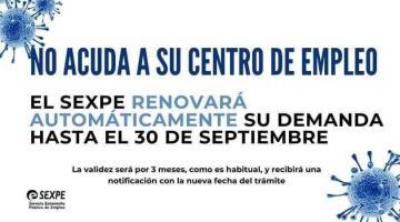 NO ACUDA A SU CENTRO DE EMPLEO EL SEXPE RENOVARÁ AUTOMÁTICAMENTE