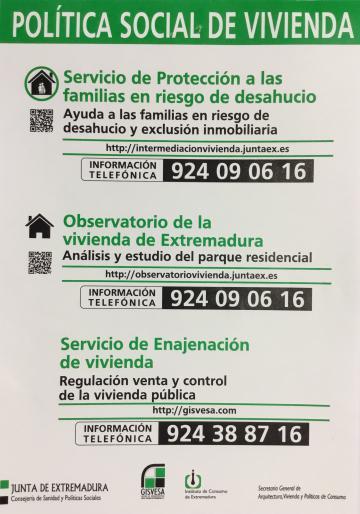 SERVICIO DE PROTECCIÓN A LAS FAMILIAS EN RIESGO DE DESAHUCIO DE LA JUNTA DE EXTREMADURA.